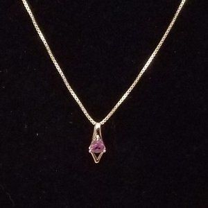 Amethyst Sterling Silver Pendant & Chain